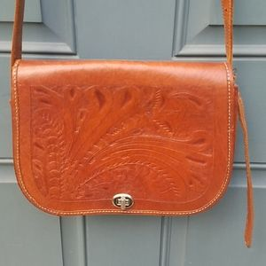Vintage Leather Hand Tooled Crossbody Bag